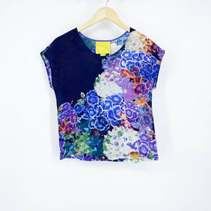 Anthropologie Maeve Floral Silk Top Blue Size 2